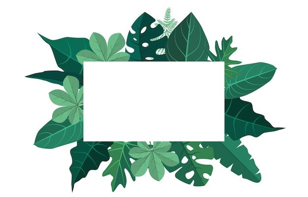 Rectangle green tropical plant summer leaf border frame background