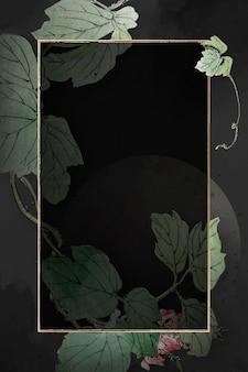 Rectangle leafy golden frame design vector