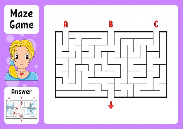 Rectangle maze. game for kids. three entrances, one exit. puzzle for children.