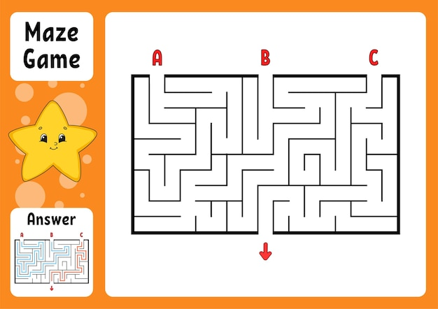 Rectangle maze. game for kids. three entrances, one exit.