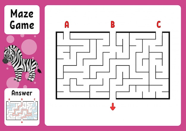 Rectangle maze. game for kids.