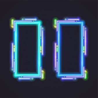 Rectangle neon vector banner design. blue template.