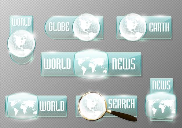 Rectangle news web button set
