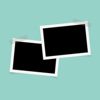 Rectangle photo frames with sticky tape.