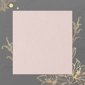 Rectangle pink paper on gold floral background