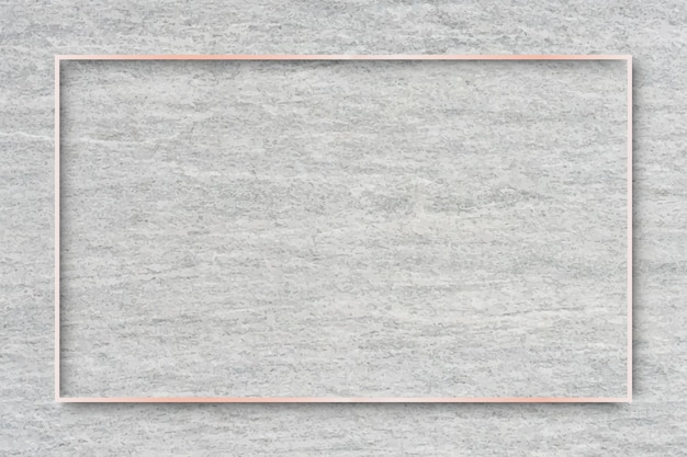 Rectangle rose gold frame on cement background vector