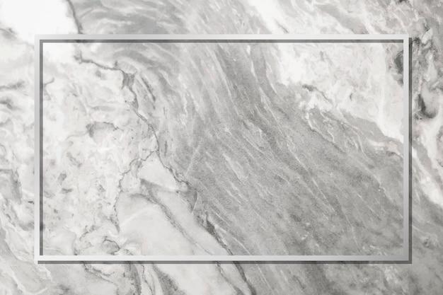 灰色の大理石の背景ベクトル上の長方形の銀のフレーム