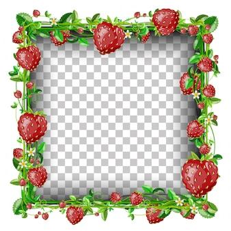 Rectangle strawberry banner template.