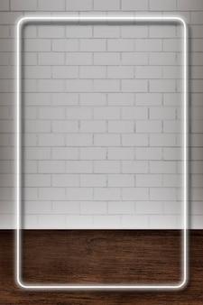 Modello di cornice rettangolare con luce al neon bianca