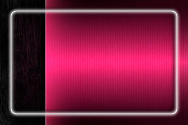 長方形の白いネオンライトフレームテンプレート