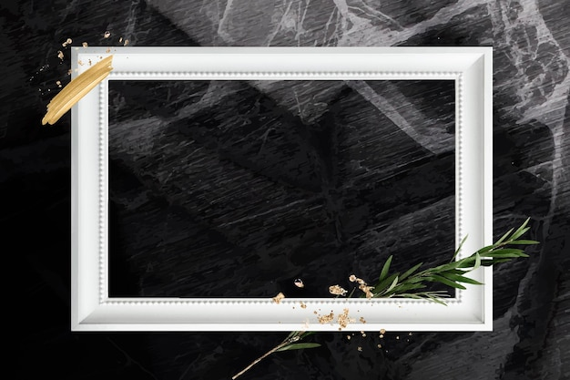 Rectangle white wooden frame with eucalyptus branch