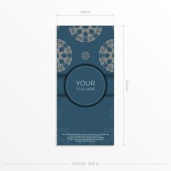 豪華な光の飾りが付いた長方形の青い色のはがきテンプレート。ヴィンテージパターンの印刷可能な招待状のデザイン。