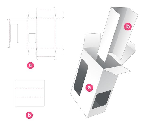 Прямоугольная коробка с двумя окнами и вставным штампом