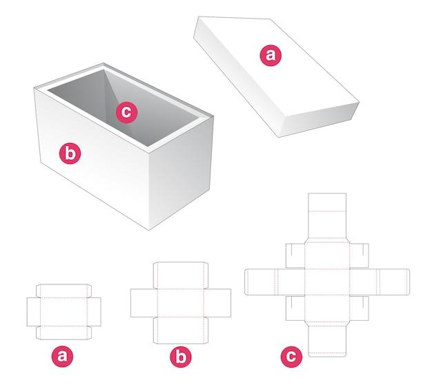 뚜껑과 지지대 다이 컷 템플릿이있는 직사각형 상자