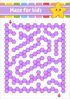 Прямоугольный цветной лабиринт. мультяшная звезда. игра для детей. забавный лабиринт. рабочий лист развития образования. страница активности.