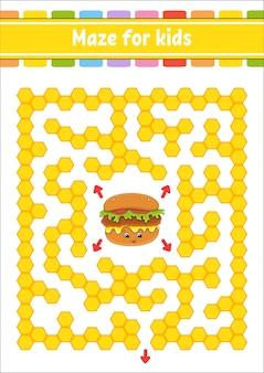 Прямоугольный цветной лабиринт. игра для детей. забавный лабиринт. рабочий лист развития образования. страница активности. пазл для детей.