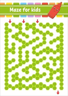 Прямоугольный цветной лабиринт. игра для детей. забавный лабиринт. рабочий лист развития образования. страница активности.