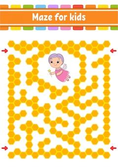 長方形の色の迷路。子供向けのゲーム。面白い迷路。教育開発ワークシート。