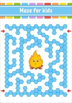 Прямоугольный цветной лабиринт. игра для детей. забавный лабиринт. рабочий лист развития образования.