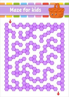 Прямоугольный цветной лабиринт. игра для детей. забавный лабиринт.