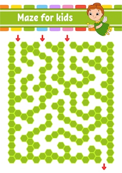 Rectangular color maze. game for kids. funny labyrinth.