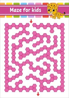 Прямоугольный цветной лабиринт. пятнистый ягуар. игра для детей. забавный лабиринт. рабочий лист развития образования. страница активности.