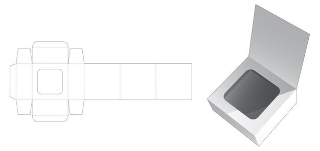 숨겨진 창 다이 컷 템플릿이있는 직사각형 플립 박스