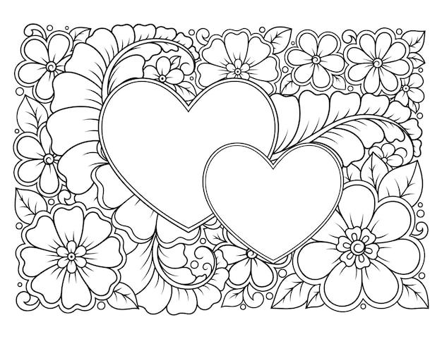 ハート型のフレームを持つ長方形の花柄。エスニックオリエンタル一時的な刺青スタイルの装飾的な装飾。