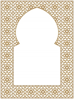 Rectangular frame of the arabic pattern of three by four blocks in golden color.