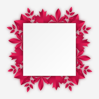 Rectangular frame with burgundy autumn leaves. vector illustration in paper cut style with realistic shadows