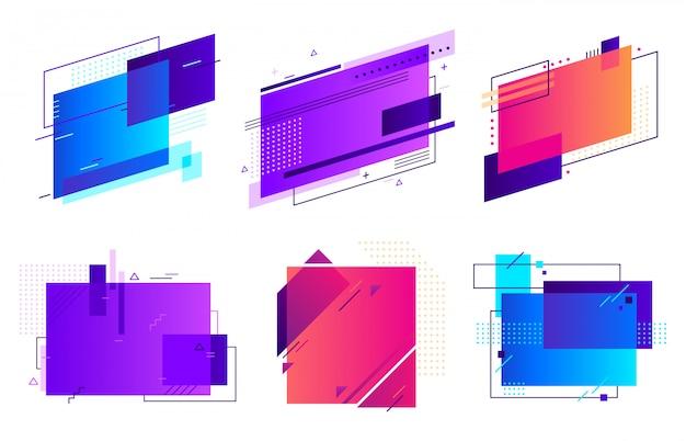 長方形の幾何学的なバッジ。トレンディなフレーム、最小限および抽象的なグラデーションフレームテンプレートレイアウト背景セット