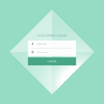 Rectangular green login form