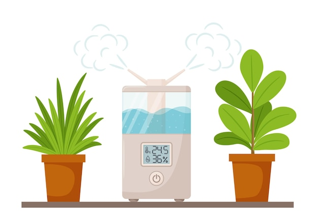 Rectangular humidifier with digital display and potted indoor plants. Premium Vector