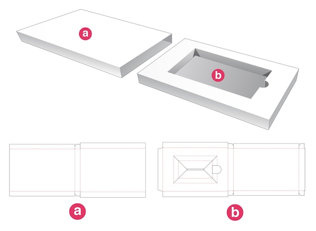 Rectangular insert with cover die cut template