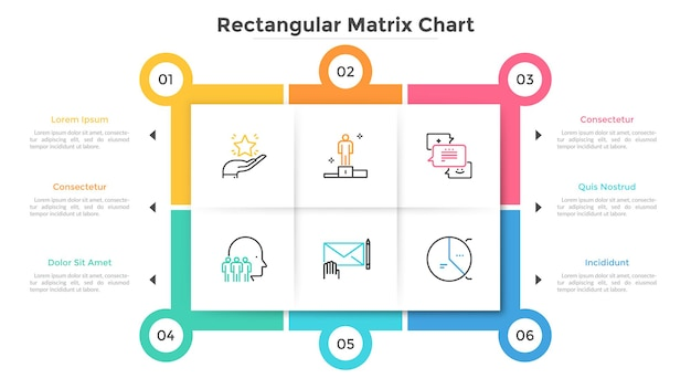 6つの正方形の紙の白血球を含む長方形のマトリックスチャート。選択できる6つのビジネスオプションを備えたスキーム。クリエイティブなインフォグラフィックデザインテンプレート。インタラクティブなプレゼンテーションのためのフラットベクトルイラスト。