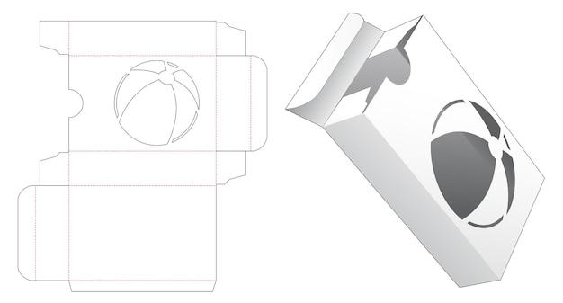 공 모양의 창 다이 컷 템플릿이있는 직사각형 포장 상자