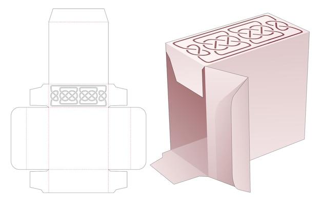 라인 스텐실 다이 컷 템플릿이있는 직사각형 포장 상자