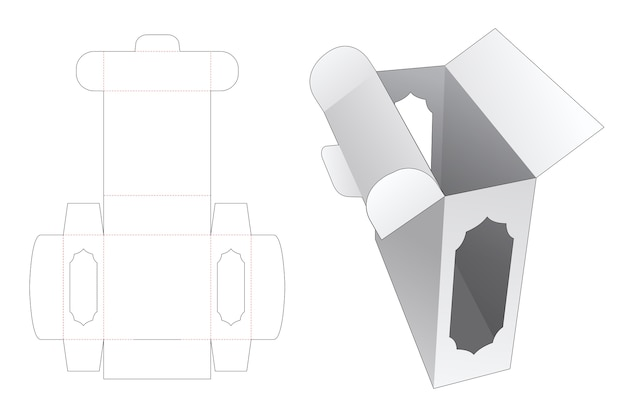 Rectangular packaging box with side window die cut template