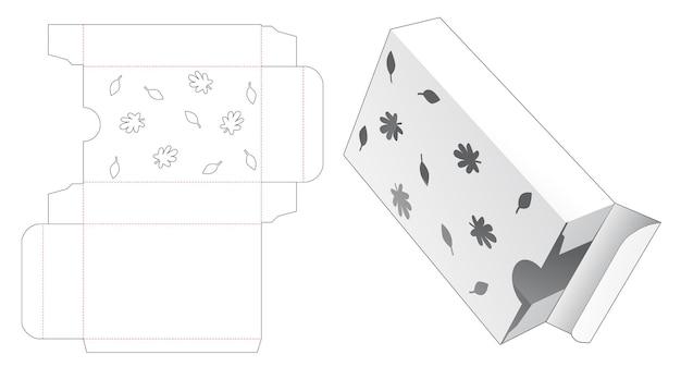 스텐실 가을 다이 컷 템플릿이 있는 직사각형 포장 상자