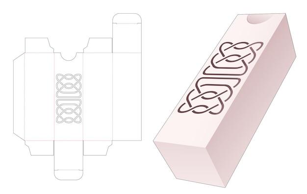 스텐실 라인 다이 컷 템플릿이있는 직사각형 포장