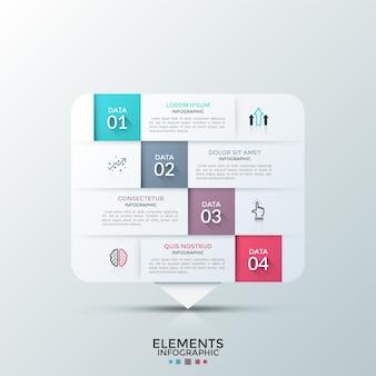 Прямоугольный бумажный белый элемент разделен на 4 горизонтальных уровня с плоскими пиктограммами и местом для текста. понятие о четырех этапах процесса разработки. макет дизайна инфографики.