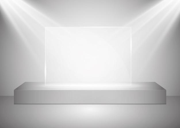Прямоугольный подиум со стеклянной площадкой, освещенный прожекторами, иллюстрация
