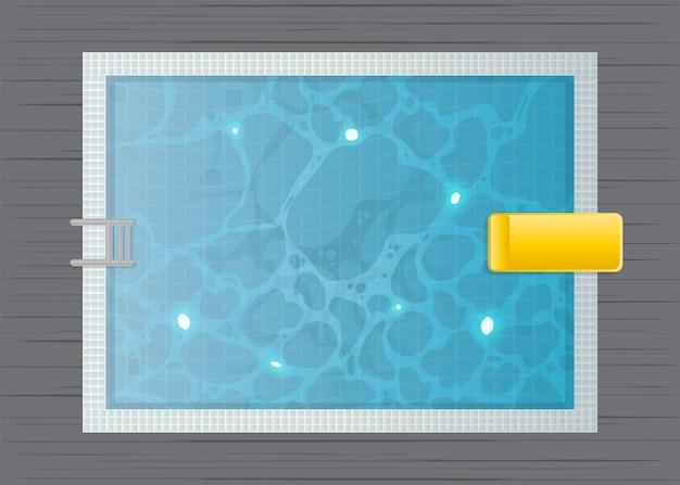 長方形のプールのトップ ビュー