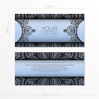 Прямоугольные открытки голубого цвета с роскошным черным узором. дизайн пригласительного билета с винтажным орнаментом.