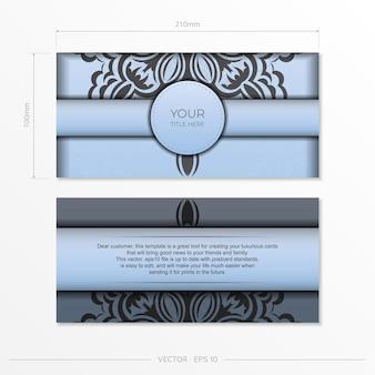 직사각형 고급스러운 검은색 장식품으로 파란색 엽서를 준비하세요. 빈티지 패턴으로 인쇄 가능한 디자인 초대 카드용 템플릿입니다.