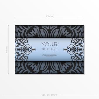 Прямоугольные подготовьте синие открытки с роскошным черным узором. шаблон для дизайна для печати приглашения со старинным орнаментом.