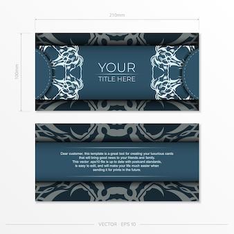 長方形豪華な光のパターンで青いポストカードを準備します。ヴィンテージの装飾が施されたデザインの印刷可能な招待状のテンプレート。