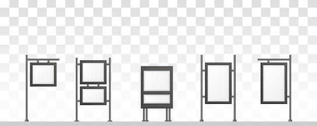 Прямоугольные вывески светового короба вывески. цифровые вывески, изолированные на белом фоне. макет для рекламы. иллюстрация.