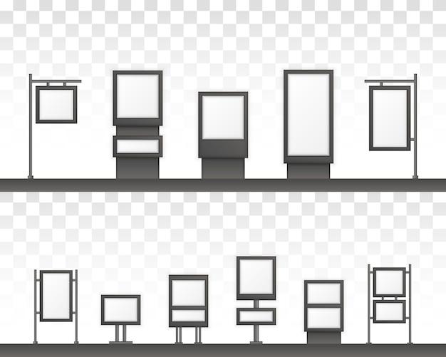 Прямоугольные вывески светового короба вывески. цифровые вывески, изолированные на белом фоне. макет для рекламы.