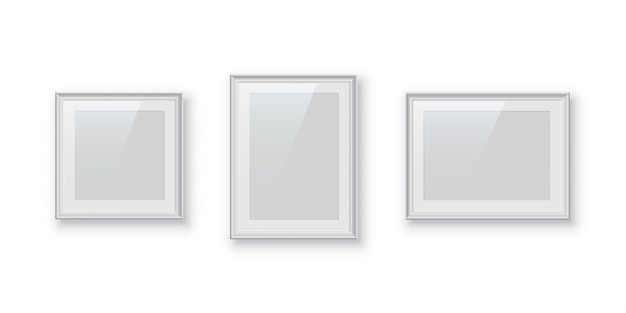 Rectangular and square white photo or picture frames isolated, vintage borders set.